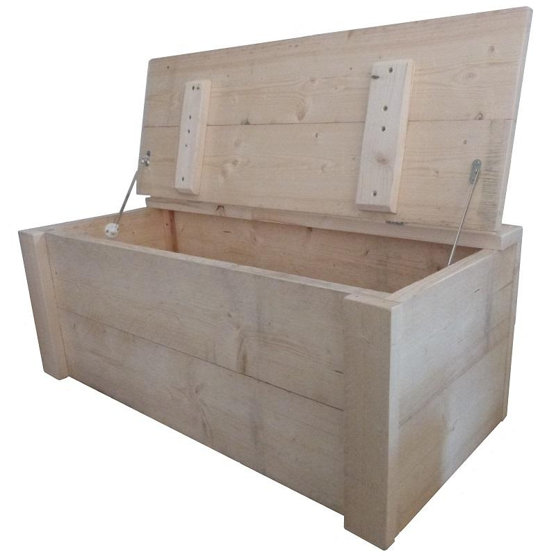 Steigerhout kist op maat opbergkist speelgoedkist for Steigerhout op maat