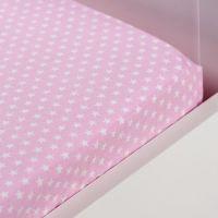 Hoeslaken 60x120cm Roze met sterren