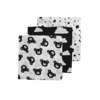 Hydrofiele swaddles Bear-Clouds-Dots zwart/wit Meyco