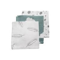 Hydrofiele monddoekjes Feathers-Clouds-Dots grijs/jade/wit Meyco