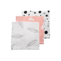 Hydrofiele monddoekjes Feathers-Clouds-Dots grijs/roze/zwart/wit Meyco