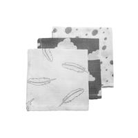 Hydrofiele monddoekjes Feathers-Clouds-Dots grijs/wit Meyco
