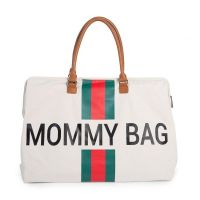 Mommy Bag Canvas Off White Stripes Green Red Childhome
